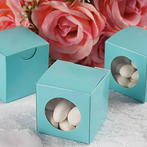 Efavormart 2x2 Turquoise Ballotin Box for Candy Treat Gift Wrap Box Party Favor Boxes Bridal Shower Anniverary Wedding -100 Boxes