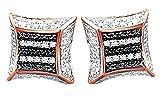Black & White Natural Diamond Hip Hop Zebra Print Stud Earrings 14K Rose Gold Over Sterling Silver (0.12 Cttw)