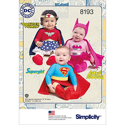 Simplicity 8193 Baby's Wonder Woman, Supergirl, and Batgirl Costume Sewing Patterns, Sizes XXS-L
