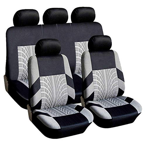 HZLX Car Seat Cover Protector - Four Seasons Universal Craft Fabric Cushion, Auto Product 9 Sets,Gray