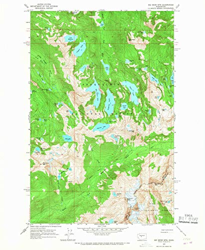 YellowMaps Big Snow MTN WA topo map, 1:24000 Scale, 7.5 X 7.5 Minute, Historical, 1965, Updated 1967, 26.8 x 22.1 in - Paper ()