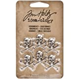 Adornments for Arts and Crafts by Tim Holtz Idea-ology, Crossbones, 6-Pieces, 0.75 x 0.75 Inches Each, Antique Nickel, TH93089