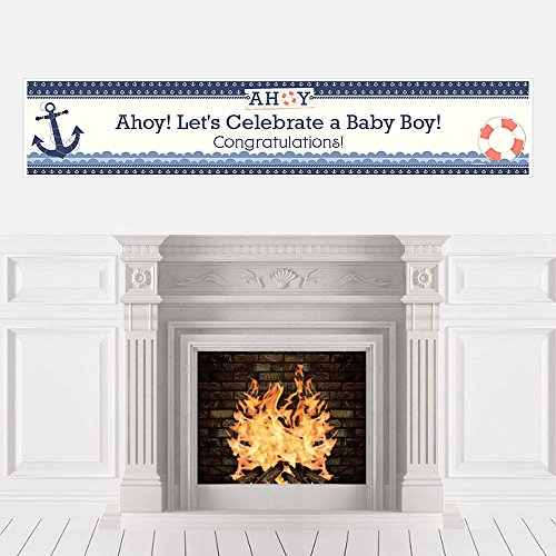 Big Dot of Happiness Ahoy - Nautical - Boy Baby Shower Decorations Party Banner