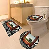 Printsonne Toilet Cushion Suit Surreal Landscape Forest Tree in Frame Stones Art Photo Charcoal Grey Dark Orange in Bathroom Accessories