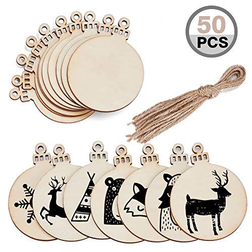 MACTING 50 Pieces Round Wood Slices with Holes, Christmas Blank Wood Discs Natural Wood Slices 2.8, DIY Wooden Christmas Ornaments Unfinished Predrilled Wood Circles
