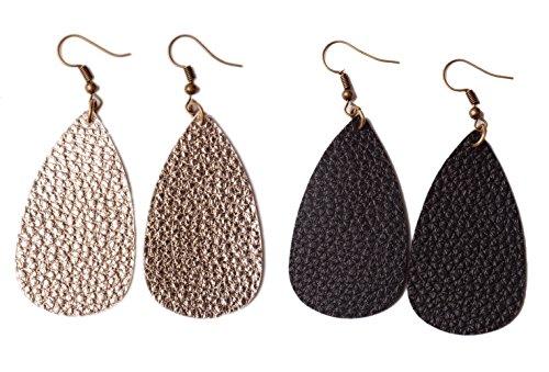 L&N Rainbery Teardrop Leather Earrings Antique Looking 2 Pairs Pack (Light gold+Black)