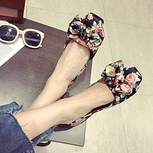 Fairy Shoes Wedding Shallow KPHY Printed Square Shoes Square Spring Bow Thirty Shoes Women'S Tie Black Five Shoes Single EtqFg
