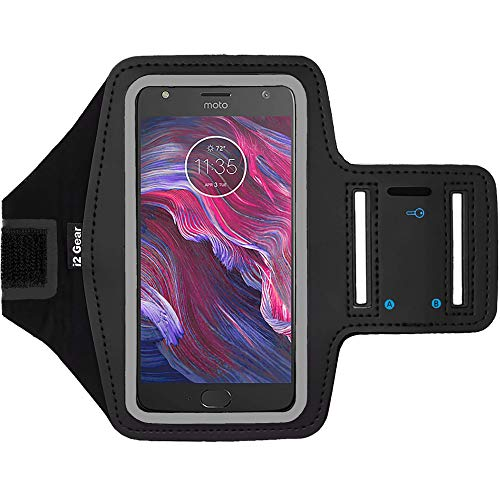 i2 Gear Cell Phone Armband Case for Running - Workout Phone Holder with Adjustable Arm Band, Reflective - Large fits Moto X4, Motorola Droid Turbo 2, Moto G5 Plus, Moto X Force, G5S, MAXX (Black) (Motorola Moto G 2 Phone Case)