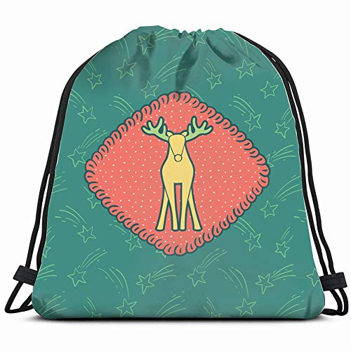 christmas new year vintage ornate frame holidays signs symbols Drawstring Backpack Gym Sack Lightweight Bag Water Resistant Gym Backpack for Women&Men for Sports,Travelling,Hiking,Camping,Shopping Yog
