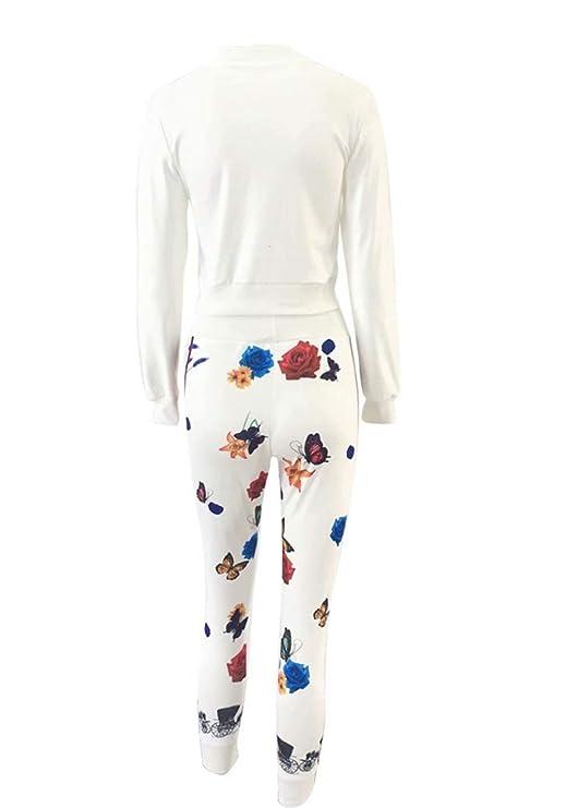 4203b867bfce FOUNDO Women s Floral Tracksuit Jacket Pants 2 Piece Sports Joggers Jog Set  at Amazon Women s Clothing store