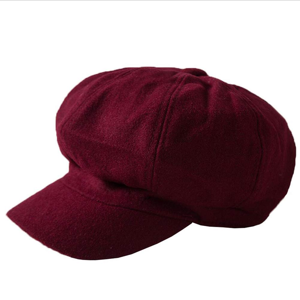 ZHML Sombrero Moda Simple Sombrero Octogonal Mezcla De Lana Gruesa Sombrero Cálido Otoño E Invierno Tendencia Fresca (Color : Red, Tamaño : Metro)