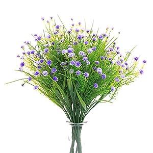 JAKY Global Artificial Flowers Babysbreath Fake Water Plants Bouquet 6 Bundle Fake Plants Wedding Bridle Bouquet Outdoor Home Office Christmas Decor (Purple)