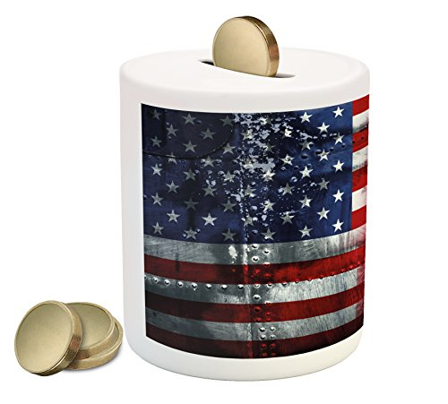Ambesonne Union Jack Piggy Bank  Alliance Togetherness Theme Composition Of Uk And Usa Flags Vintage  Printed Ceramic Coin Bank Money Box For Cash Saving  Navy Blue Red White