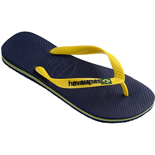 Havaianas Brasil Logo Sandals UK 8 Navy Blue Citrus - Havaianas Blue Yellow