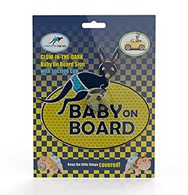 "Glow-in-the-dark UV Reflecting""Baby on board"" Car Sign with Suction Cup - Awesome/Funny Kangaroo Print - Maximum Safety 24/7 All the Day and Night for your Children"