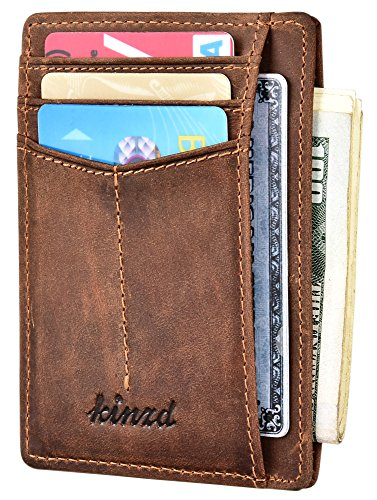 Slim Wallet RFID Front Pocket Wallet Minimalist Secure Thin Credit Card Holder (Dark Brown)