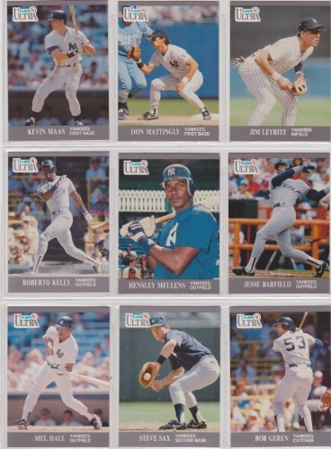 New York Yankees 1991 Fleer Ultra Baseball Team Set (Don Mattingly) (Bob Geren) (Roberto Kelly) (Jim Leyritz) (Kevin Maas) (Hensley Meulens) (Steve Sax)