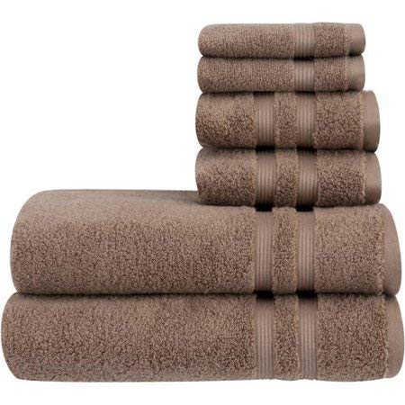 Mainstay 6 Piece Set of Soft & Classic Look Solid Performance Towel, 100% Cotton, Fade Resistant, Designed to Dry Faster [Includes 2 Bath Towels, 2 Hand Towels and 2 washcloths] - Acorn