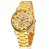 FNGEEN Men's Gold Plating Steel Skeleton Luxury Automatic Mechanical Watch