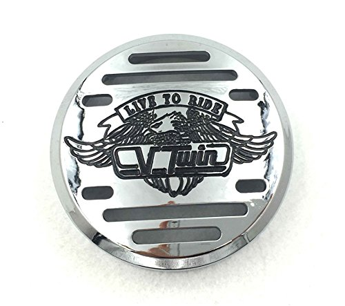 SMT- Motorcycle Chrome Horn Cover with Black Logo For 1998-2013 Yamaha V-Star 650 / Classic / Custom 1999-2009 Yamaha V-Star 1100 / Classic / Custom / Silverado 1995-2006 Kawasaki Vulcan - Chrome Cover Horn