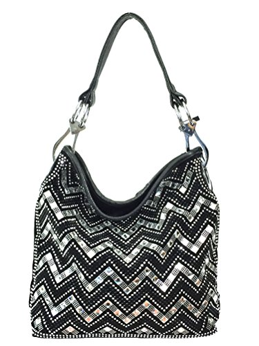 Zzfab Sparkle Gem Chevron Rhinestone Hobo Bag with Shoulder Strap Black ()
