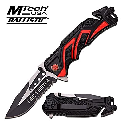 "8"" Fire Fighter Red MTECH SPRING ASSISTED FOLDING KNIFE Blade pocket open switch- Firefighter Rescue Pocket Knife - hunting knives, military surplus - survival and camping gear from MTECH"