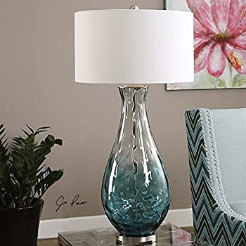 Table Lamp With Blue Ombre Water Glass
