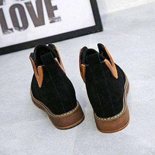 de Botas de ANI Falda Mujer Moda E Aumentaron de Negro la Invierno Botas Occidental de Las Otoño Estudiante Corta Zapatos de aqxZTfa
