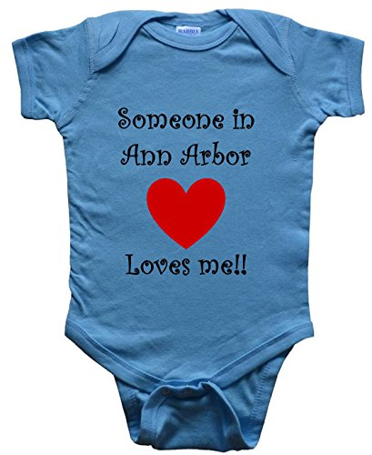 SOMEONE IN ANN ARBOR LOVES ME - ANN ARBOR BABY - City Series - Blue Baby One Piece Bodysuit - size Large (18-24M) -