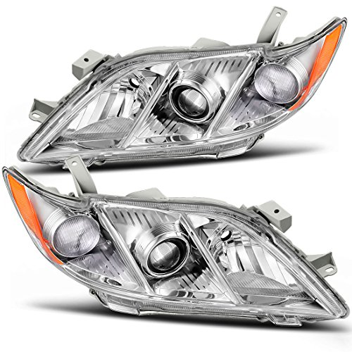 For Toyota Camry 2007-2009 Headlight Assembly Chrome Housing Amber Reflector Clear Lens Headlamps Replacement (Driver and Passenger Side)