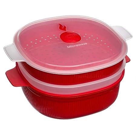 Snips 000704 menaje para microondas - Menaje para microondas (Vaporizador, 4000 ml, Rojo, Polipropileno (PP), Transparente, -18-140 °C)