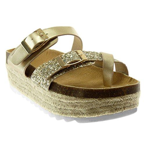 Moda Zapatillas Plataforma Sandalias Hebilla CM on Slip Mujer Angkorly 5 Chanclas Oro Brillante Plataforma Brillantes d5PqEnOwB