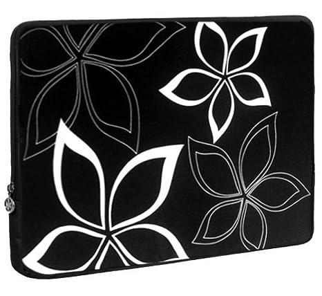 13 Pulgadas negro y blanco abstracto floral funda para portátil funda de ordenador portátil funda de transporte para Apple MacBook Air 13, Dell, Acer, ...