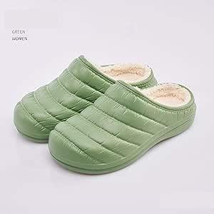 WYEZ Zuecos Zapatillas cálido Zapatos de jardín Forrados de Felpa de Invierno de casa Zapatillas de algodón Suela Antideslizante Impermeables para Interiores y Exteriores Unisex,Verde,38/39: Amazon.es: Hogar