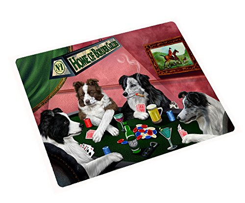 Home of Border Collies Tempered Cutting Board 4 Dogs Playing Poker