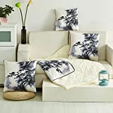 HOMEE Multifunction Ice Silk Pillow Cushion Cool in the Summer, Quilt Sleeper Sofas Automotive Single Cotton Air-Conditioning is Children Pillow,Landscape Paintings.,50X50