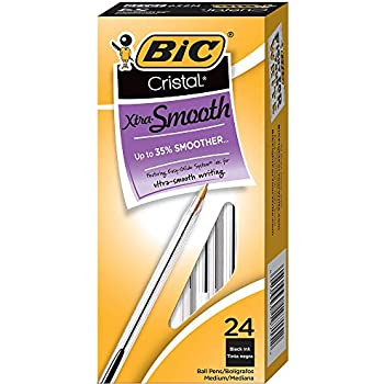 BIC Cristal Xtra Smooth Medium Ballpoint Pen (1.0mm) 24-Count Box, Black (MS241-BLK)