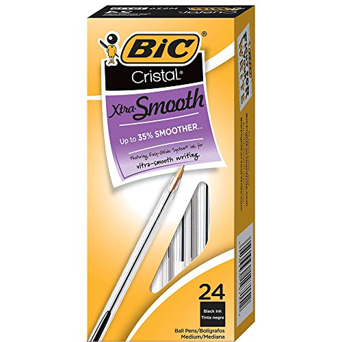 BIC Cristal Xtra Smooth Ballpoint Pen, Medium Point (1.0mm), Black, 24-Count
