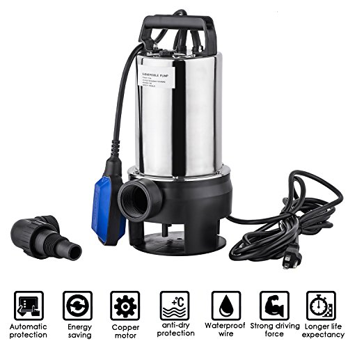1.5 HP Stainless Steel Clean/Dirty Water Submersible Sump Pump Portable Transfer Water Pump Automatic Shut Off Float Switch with 33 Feet Cable (US Stock) (Steel Pump Sump Stainless)