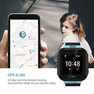 Wonbo Kid Smart Watch, Soft Silicone GPS Tracker with SIM Slot SOS Call Camera Touch Screen Real-time Location Finder Anti-Lost Alarm Remote Remove Alert for Boys Girls