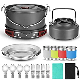 Odoland 22pcs Camping Cookware Mess Kit, Large Size Hanging Pot Pan Kettle with Base Cook Set for 4, Cups Dishes Forks…