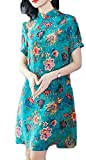 Etecredpow Women's Button Plain Floral Print Qipao Swing Ethnic Style Dresses Green M