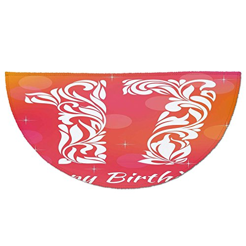 Swirls Rug Seventeen (Half Round Door Mat Entrance Rug Floor Mats,17th Birthday Decorations,Floral Leaves Swirls Seventeen with Abstract Backdrop,Orange and Hot Pink,Garage Entry Carpet Decor for House Patio Grass Water)