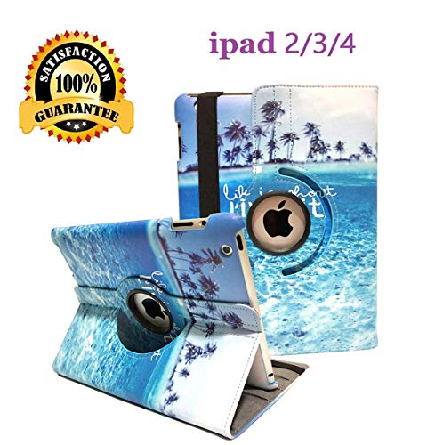 (iPad 2/3/4 Case - 360 Degree Rotating Stand Smart Case Protective Cover with Auto Wake Up/Sleep Feature for Apple iPad 4, iPad 3 & iPad 2 (Blue sea))