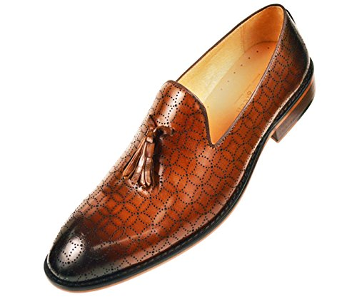 Asher Green Mens Cognac Burnished Leather Tassle Slip On Loafer Dress Shoe with Laser Design: AG2831-215