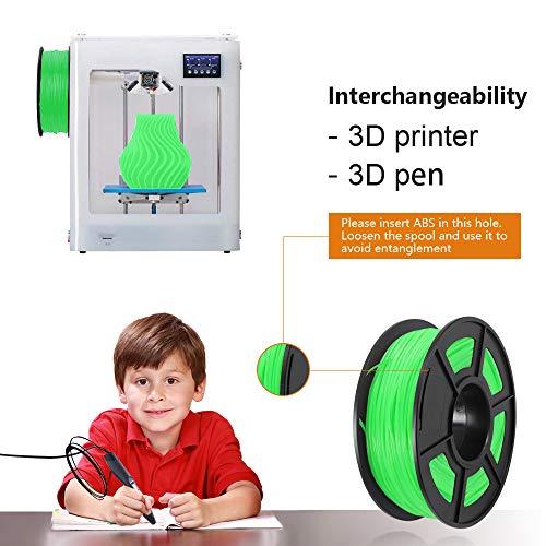 ABS Filaments for 3D Printer-SUNLU Green ABS Filament 1.75 mm,Low Odor Dimensional Accuracy +/- 0.02 mm 3D Printing Filament,2.2 LBS (1KG) Spool 3D Printer Filament for 3D Printers & 3D Pens,Green