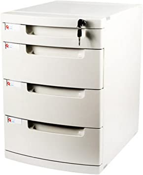 Met Love Archivador de Escritorio de la Caja de Almacenamiento de Escritorio Cajón de plástico de la Oficina Creativo 4 Capas con archivadores de Bloqueo: Amazon.es: Electrónica
