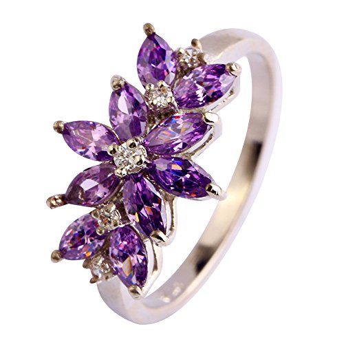 Psiroy 925 Sterling Silver Created Amethyst Filled Vine Leaf Promise Ring (Pave Twisted Band)