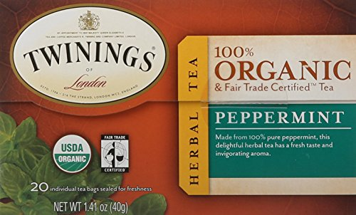 Twinings of London Organic and Fair Trade Certified Peppermint Tea Bags, 20 Count