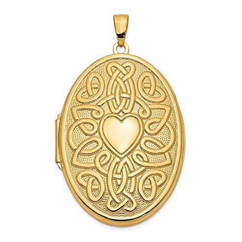(Mireval 14k Yellow Gold Celtic Heart 38mm Oval Locket Pendant (38 x 47 mm))